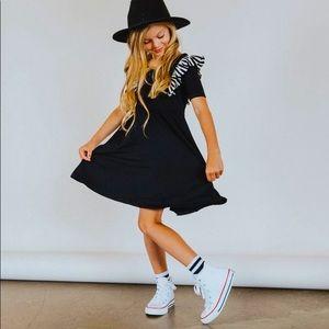 EUC Rags to raches black ruffle swing dress